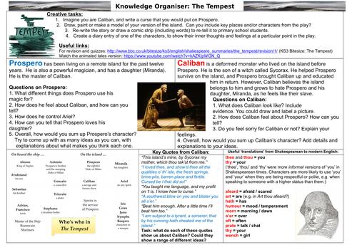 KS3 The Tempest Knowledge Organiser