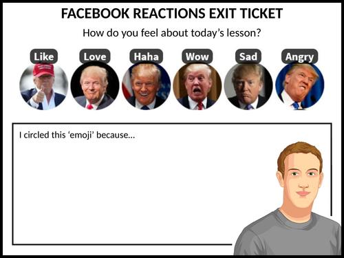 Facebook reactions exit ticket - Trump