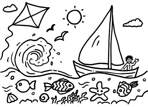 Boat on sea - colouring sheet