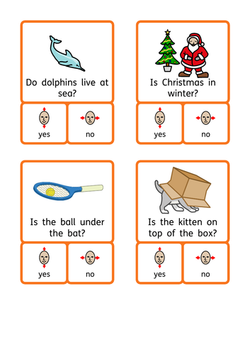 Yes / No questions, reading comprehension, reasoning, TEACCH / workstation task. KS1 / Autism / SEN