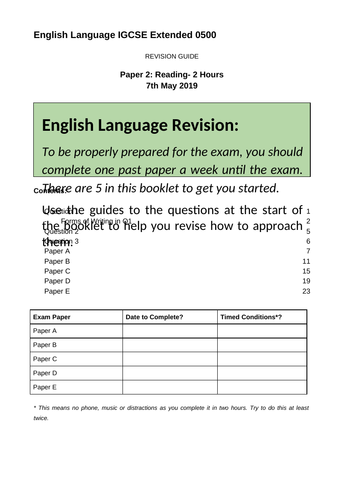 IGCSE Eng Lang Extended Reading Revision Booklet CIE