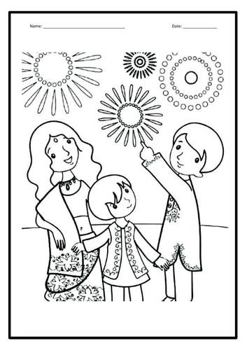 Diwali - 6 colouring-in sheets