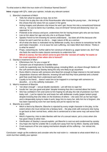 Essay Plans for Streetcar