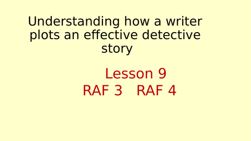 Detective Writing Lesson 9