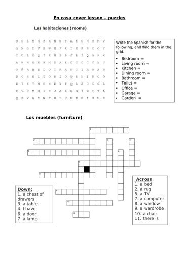 Cover lesson - Puzzles - Casa + Muebles