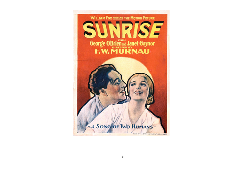 Viewing Booklet for A-Level students studying 'Sunrise' in the Silent Film component