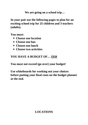 Budgeting a School Trip