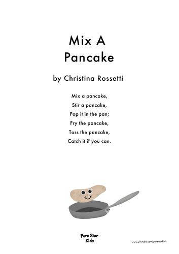 Pancake day Poem - Mix A Pancake by Christina Rossetti