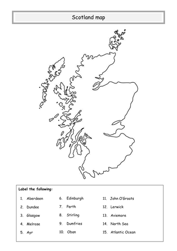 blank map of scotland worksheet Scotland Map Teaching Resources blank map of scotland worksheet
