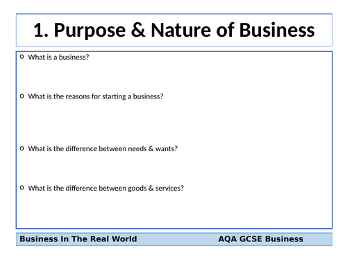 AQA GCSE Business (9-1) Revision Cards - Business In The Real World
