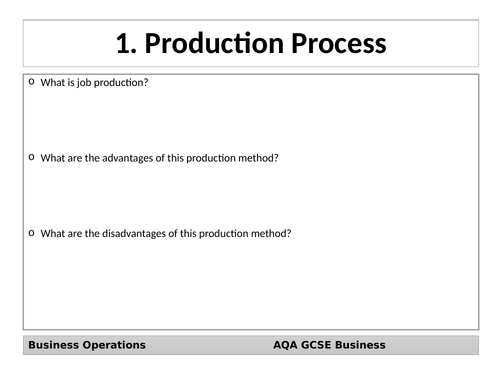 AQA GCSE Business (9-1) Revision Cards - Business Operations