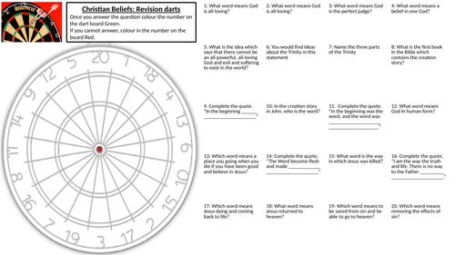 AQA Christian Beliefs Revision darts worksheet