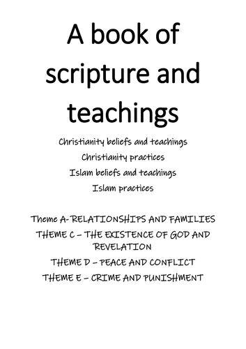 Christianity, Islam, Theme A C D E - full scripture revision booklet (PAPER 1 AND 2)