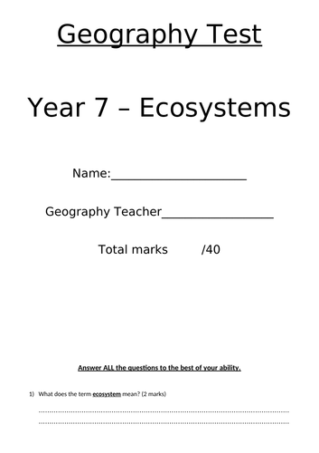 Fully resourced scheme of work on Ecosystems 8 lessons