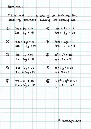 TMA - Solving Simultaneous Equations Homework and ANSWERS