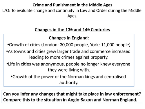 Crime and Punishment in the Middle Ages (Edexcel 9:1)