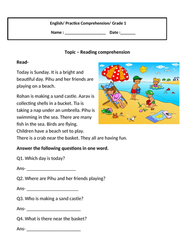 Reading Comprehension for grade 1
