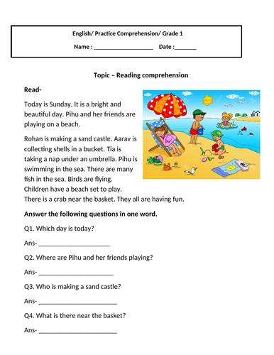 Reading Comprehension for grade 1
