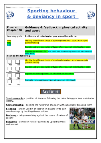 GCSE PE: Sporting behaviour & deviancy in sport