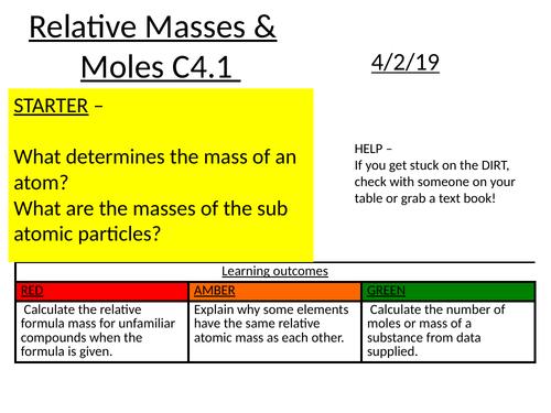 Relative formula masses and moles