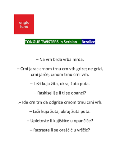 angloland Learn SERBIAN tongue twisters