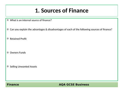 AQA GCSE Business (9-1) Revision Cards - Finance