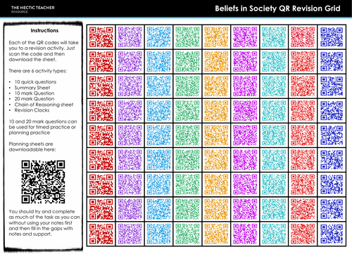 AQA A Level Sociology - QR Code Revision Grids