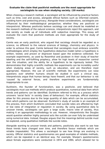 Research Methods - Positivism 20 mark Exemplar Essay