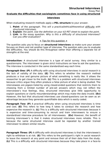 Research Methods Structured Interviews Exemplar essay