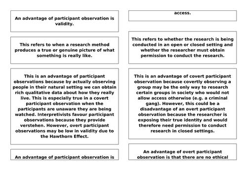 Research Methods - Participant Observations 'Exploding' Exemplar Essay