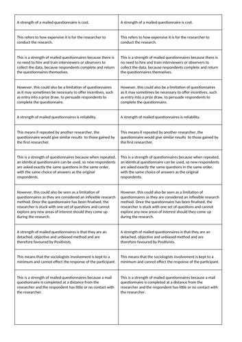 Research Methods - Questionnaires 'Exploding' Exemplar Essay