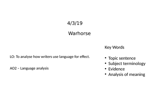 Analysing how writers use language for effect
