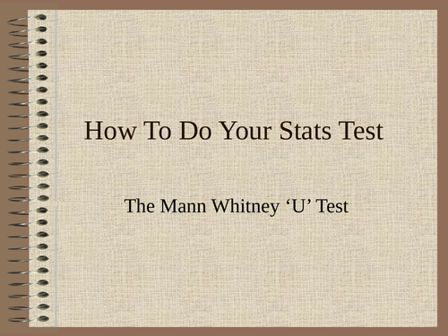 How to do your Mann Whitney U Test