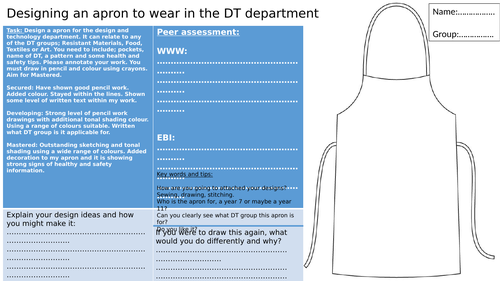 KS3 Textiles cover work, All DT subjects. Designing an apron