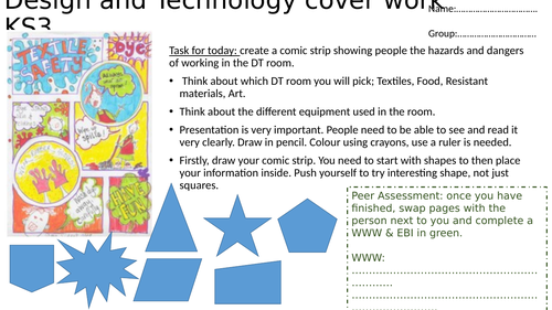 Cover work, KS3, DT, Textiles, Food, Resistant Materials, Whole lesson, Year 7 & 8. DART