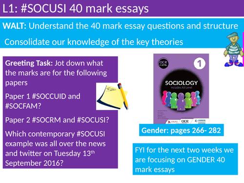 OCR A level Sociology #SOCUSI Lesson 1 (Understanding Social Inequality) 40 mark essays