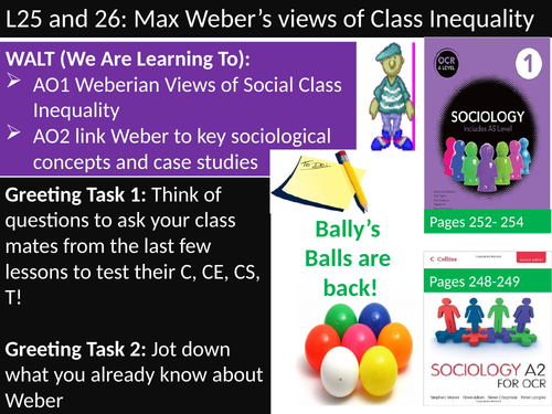 OCR A level Sociology #SOCUSI Lesson 25 (Understanding Social Inequality) Weber