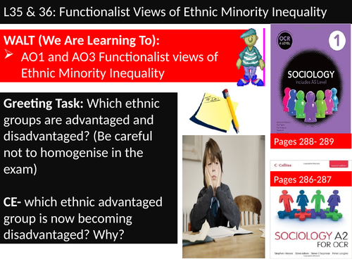 OCR A level Sociology #SOCUSI Lesson 35 and 36 (Understanding Social Inequality) Ethnicity and Func.