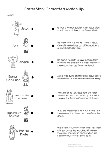 Christian Easter Story Character Match Up Worksheet