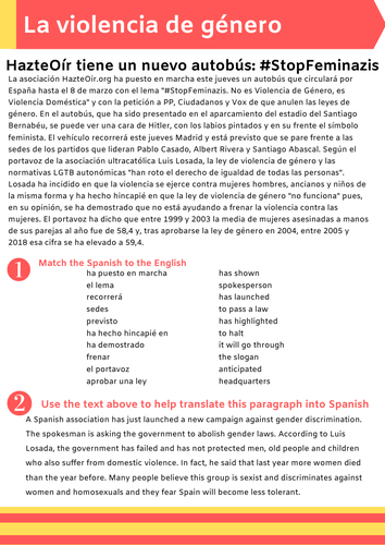 Year 12 Equal Rights - Hazte oír - worksheet about this anti Feminist group