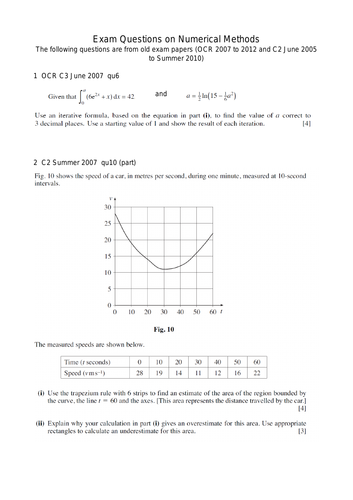 Numerical Methods A-Level Mathematics Past Exam Questions: suitable for OCR B (MEI)