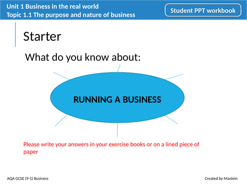 AQA GCSE (9-1) Business Unit 1 Topic 1.1 The purpose and nature of business