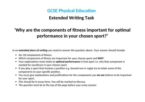 Edexcel (9-1) GCSE PE Key Assessment Task - Components of Fitness