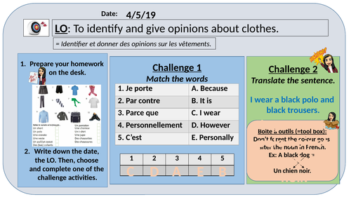 Y7 - Opinions about clothes / school uniform