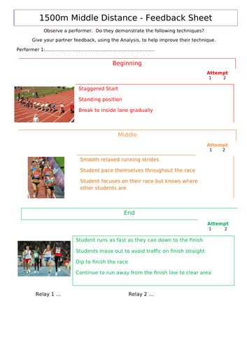 Middle Distance (800m-1500m) Athletics Sheets