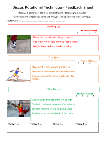 Discus feedback and information sheets