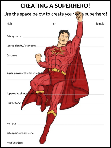 Creating a superhero!
