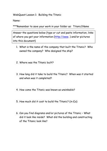 Titanic Webquest