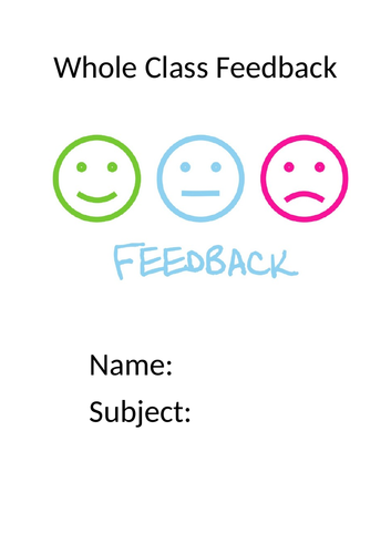 Whole Class Feedback booklet