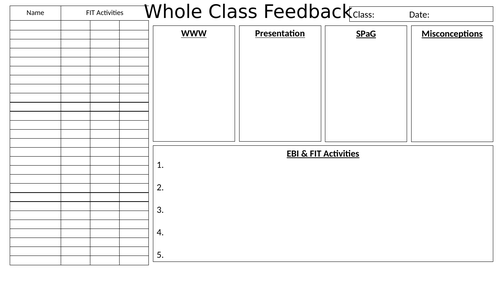 Whole Class Feedback Template